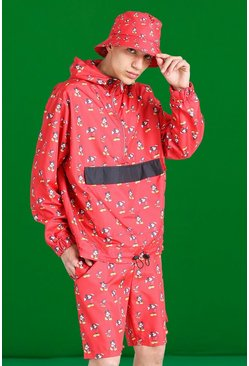 Red Disney All Over Mickey Print 1/4 Zip Cagoule