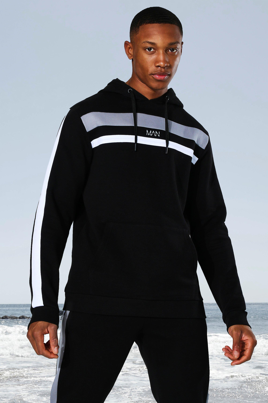 mens black man active colour block panel hoodie, black