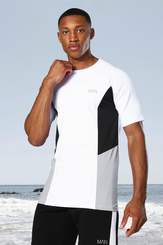 mens white man active raglan side block t-shirt, white