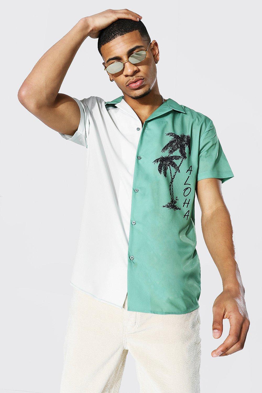 1950s Men's Clothing Mens Short Sleeve Revere Spliced Aloha Shirt - Green $19.20 AT vintagedancer.com