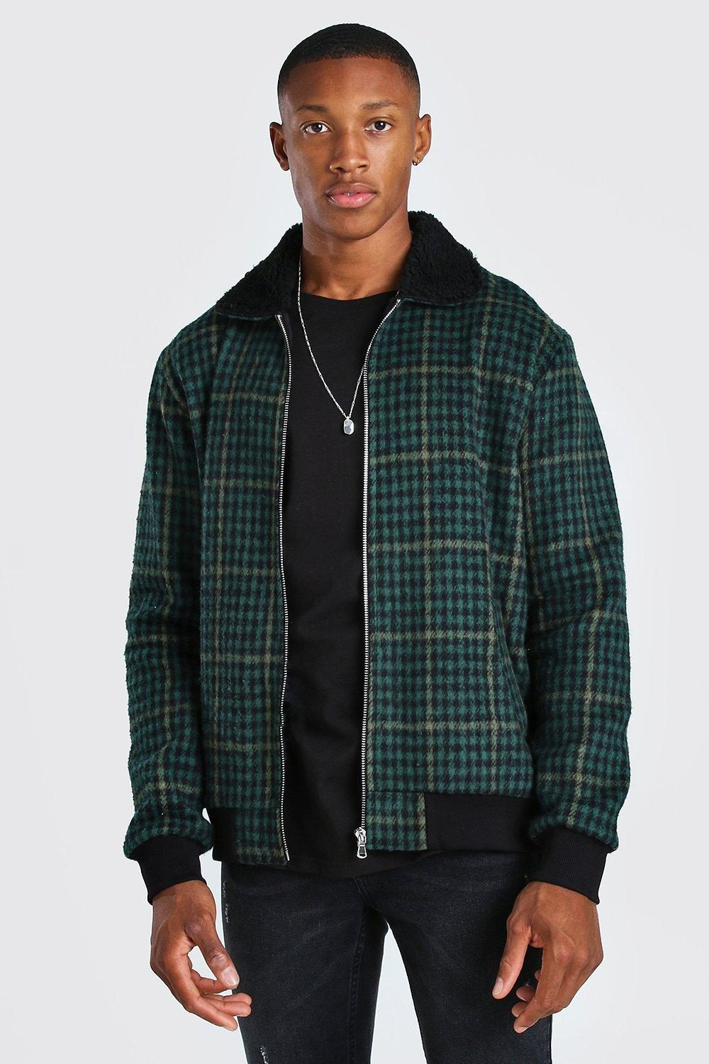 Men's Vintage Jackets & Coats Mens Flannel borg collar bomber jacket - Green $33.00 AT vintagedancer.com