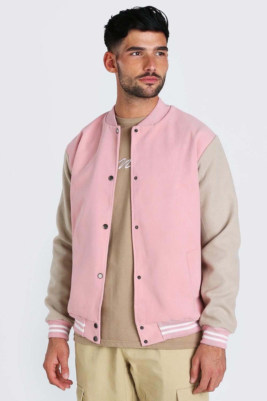 50s Men's Jackets | Greaser Jackets, Leather, Bomber, Gabardine Mens Melton contrast sleeve varsity bomber - Pink $22.00 AT vintagedancer.com