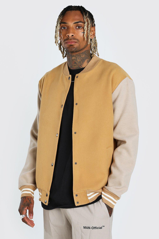 50s Men's Jackets | Greaser Jackets, Leather, Bomber, Gabardine Mens Melton contrast sleeve varsity bomber - Beige $18.00 AT vintagedancer.com