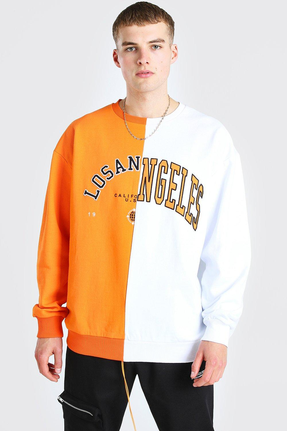 mens oversized spliced varsity sweatshirt - orange