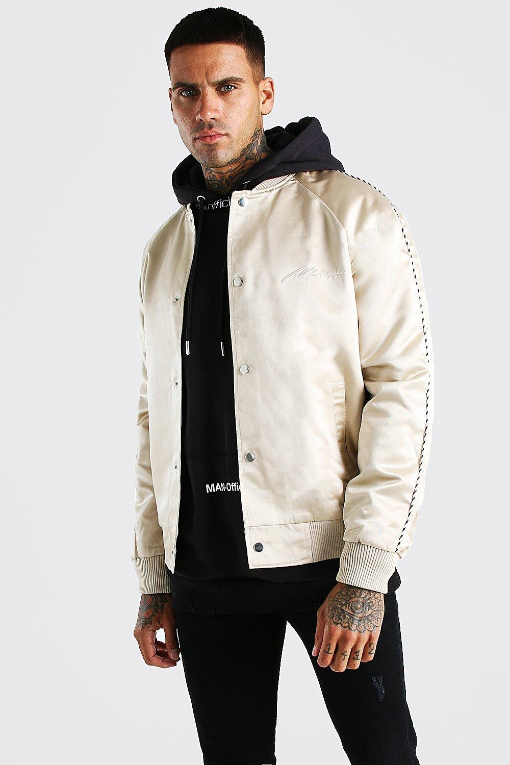 mens satin bomber jacket with chest man embroidery - beige