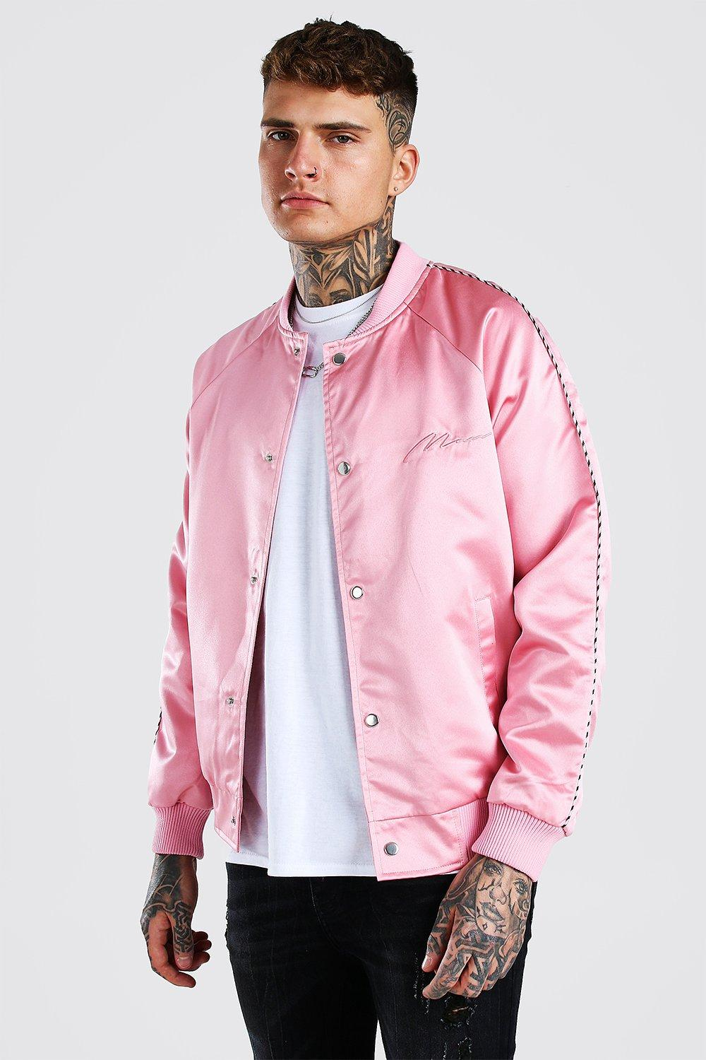 mens satin bomber jacket with chest man embroidery - pink
