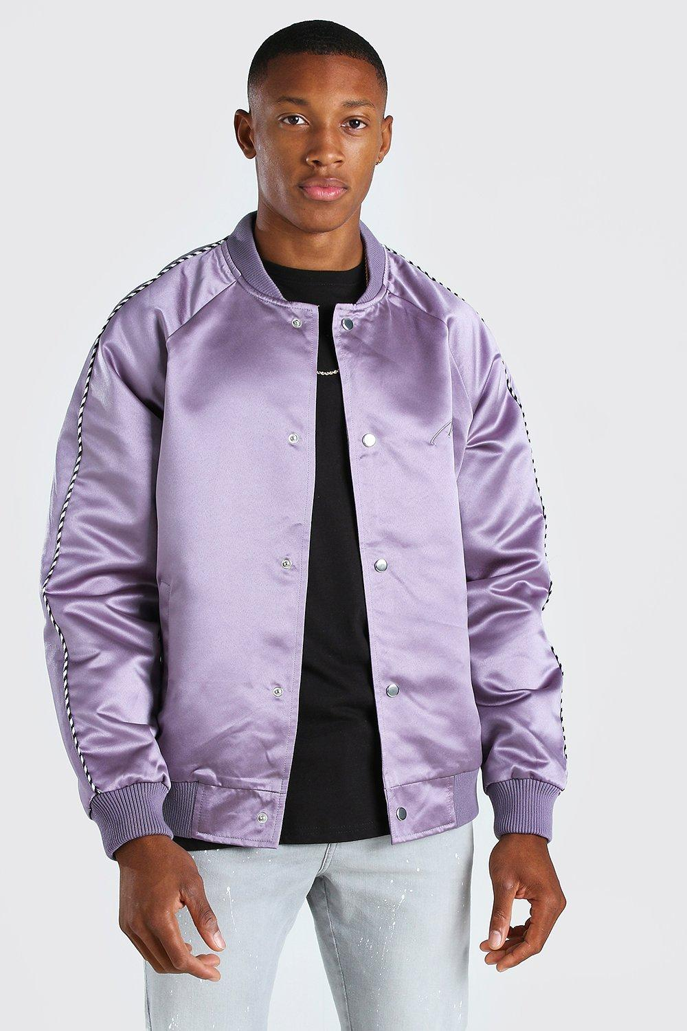 mens satin bomber jacket with chest man embroidery - grey