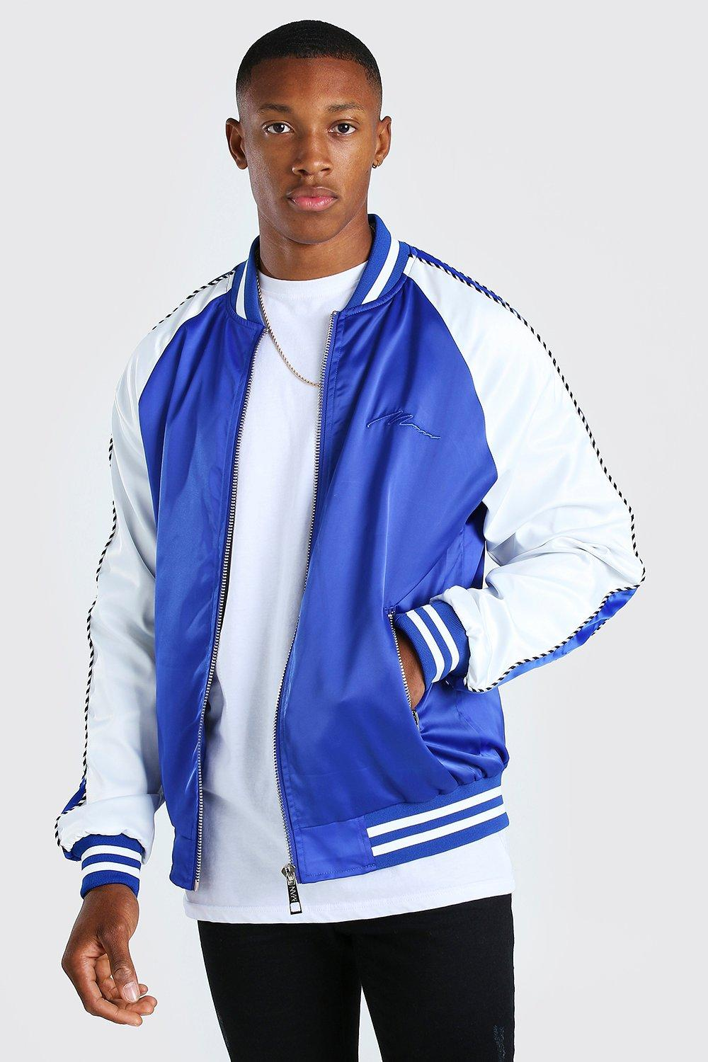 mens satin raglan bomber with piping and man embroidery - blue