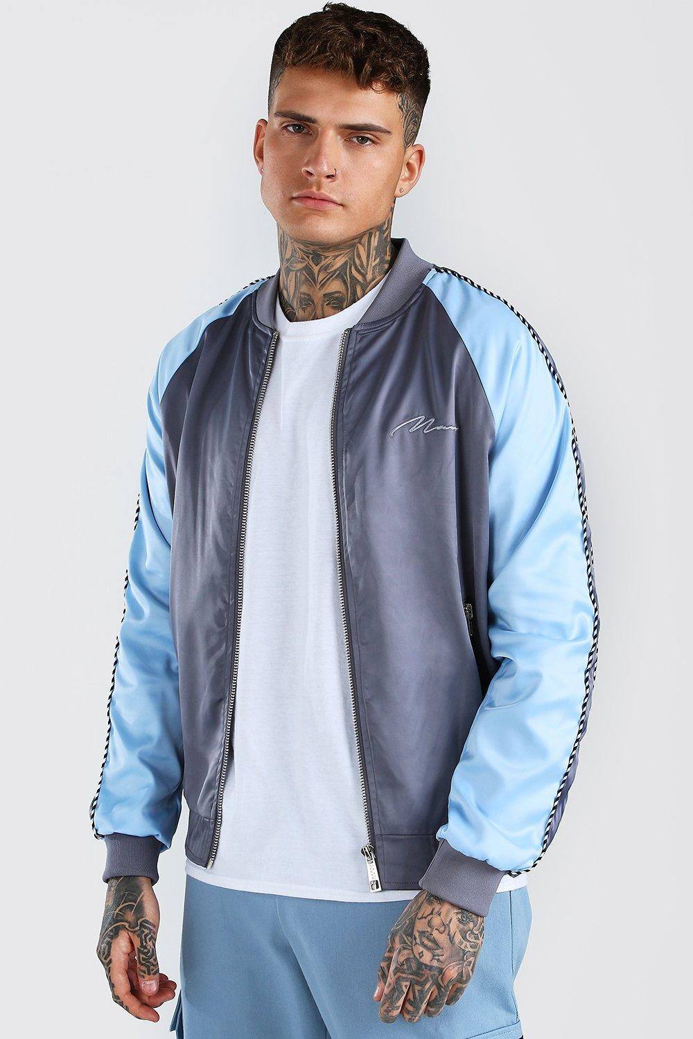 mens satin raglan bomber with piping and man embroidery - grey