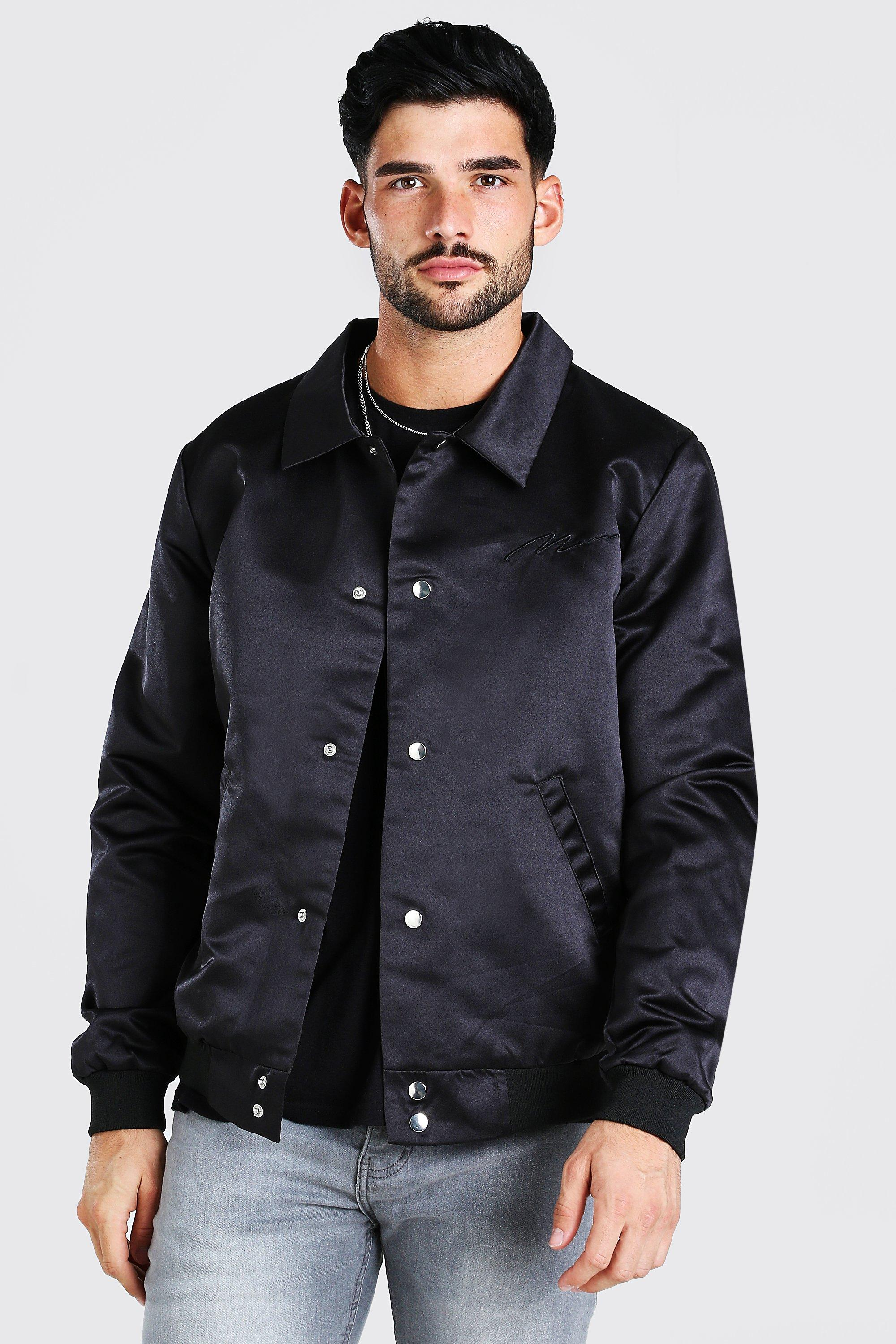 mens satin coach jacket with chest man embroidery - black
