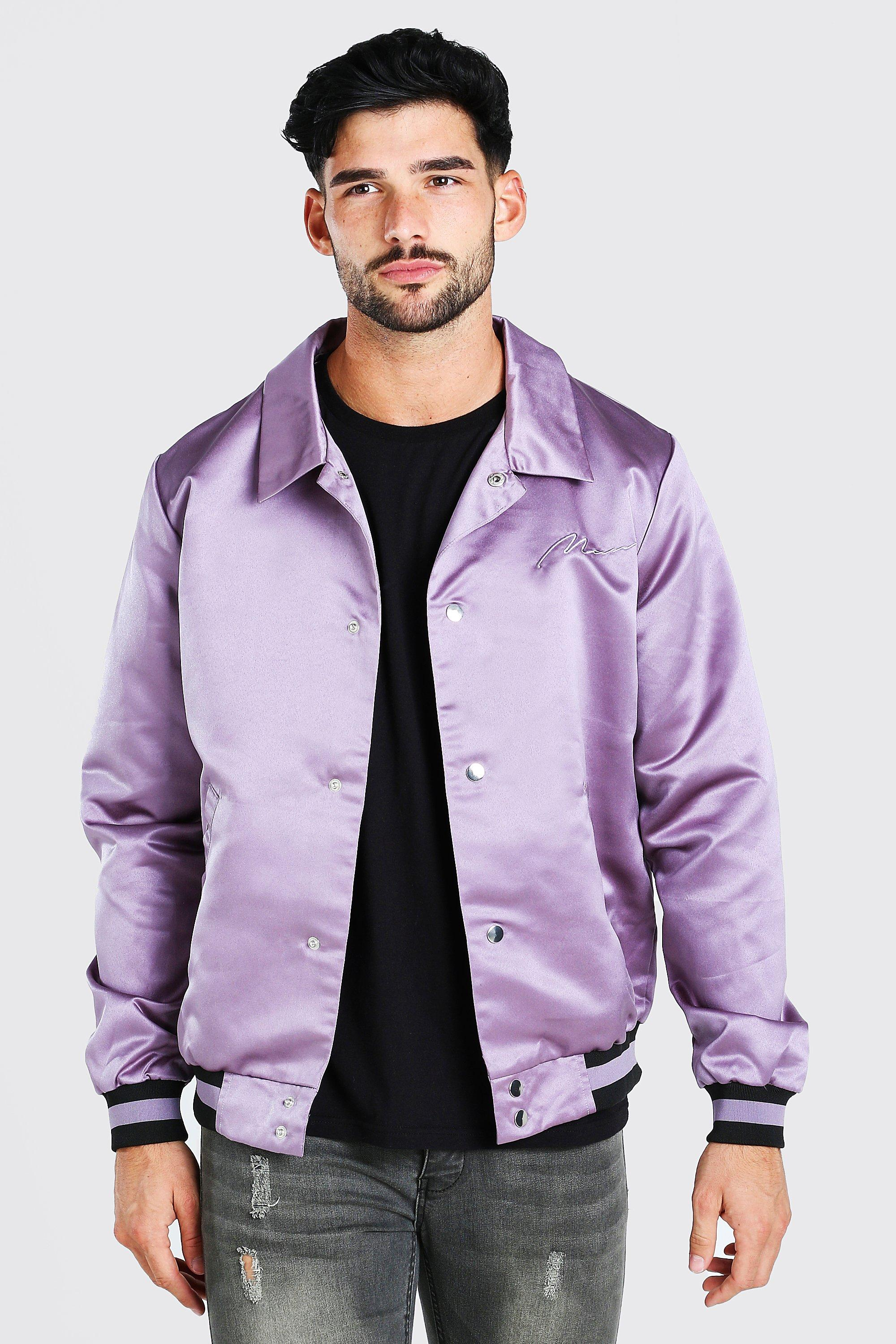 mens satin coach jacket with chest man embroidery - purple