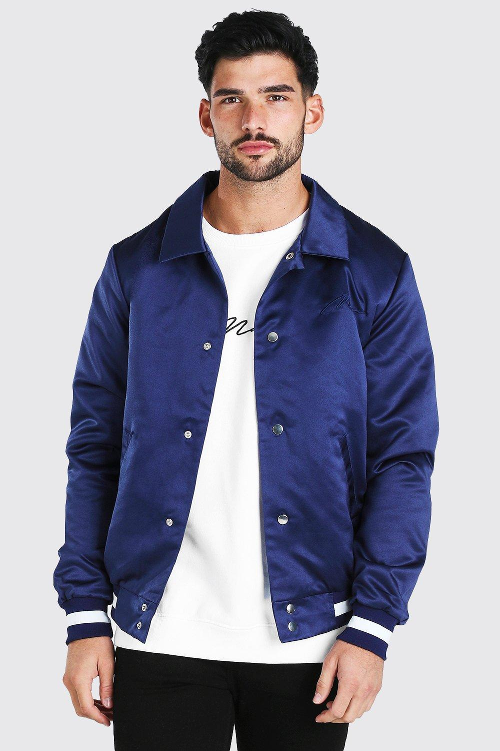 mens satin coach jacket with chest man embroidery - navy
