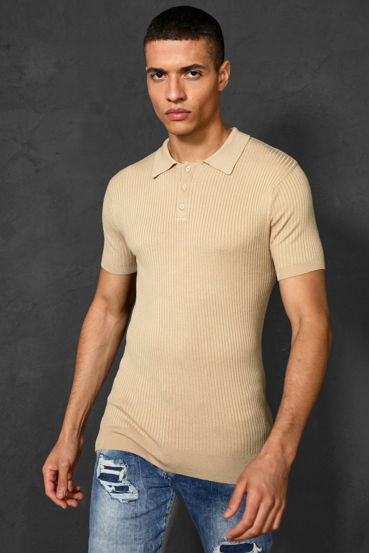 1930s Mens Shirts | Dress Shirts, Polo Shirts, Work Shirts Mens Short Sleeve Muscle Fit Ribbed Knit Polo - Beige $15.60 AT vintagedancer.com