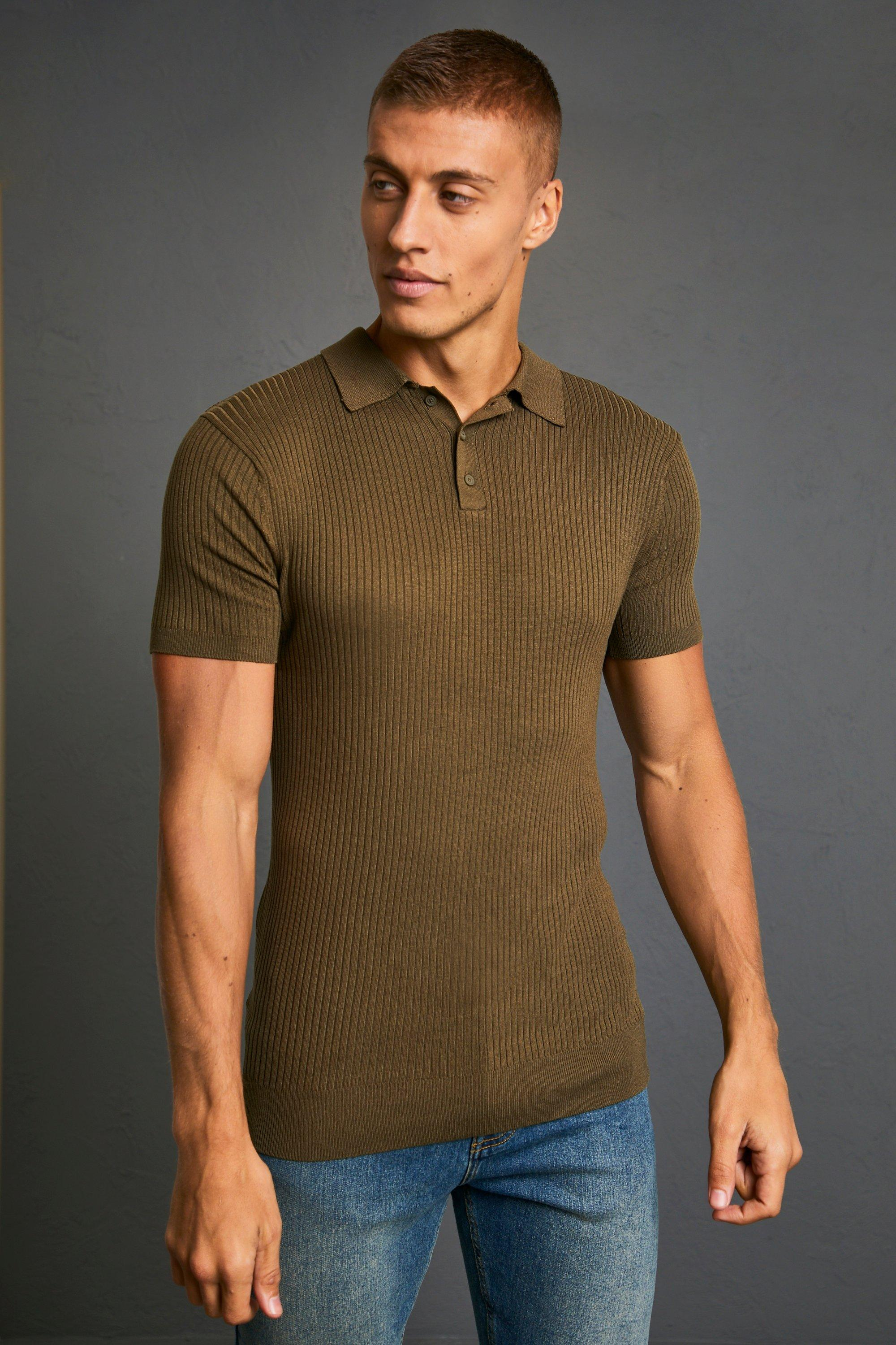 1960s Mens Shirts | 60s Mod Shirts, Hippie Shirts Mens Short Sleeve Muscle Fit Ribbed Knit Polo - Green $15.60 AT vintagedancer.com