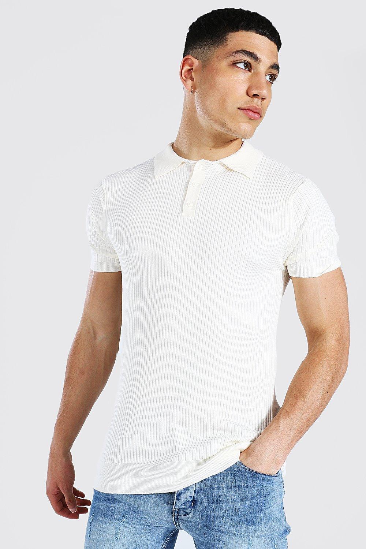 1930s Mens Shirts | Dress Shirts, Polo Shirts, Work Shirts Mens Short Sleeve Muscle Fit Ribbed Knit Polo - White $15.60 AT vintagedancer.com