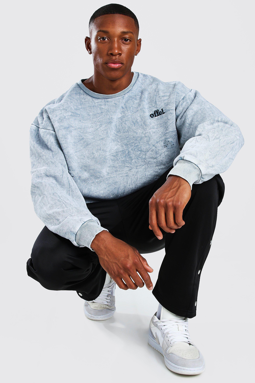 mens acid wash distressed oversized sweater - grey