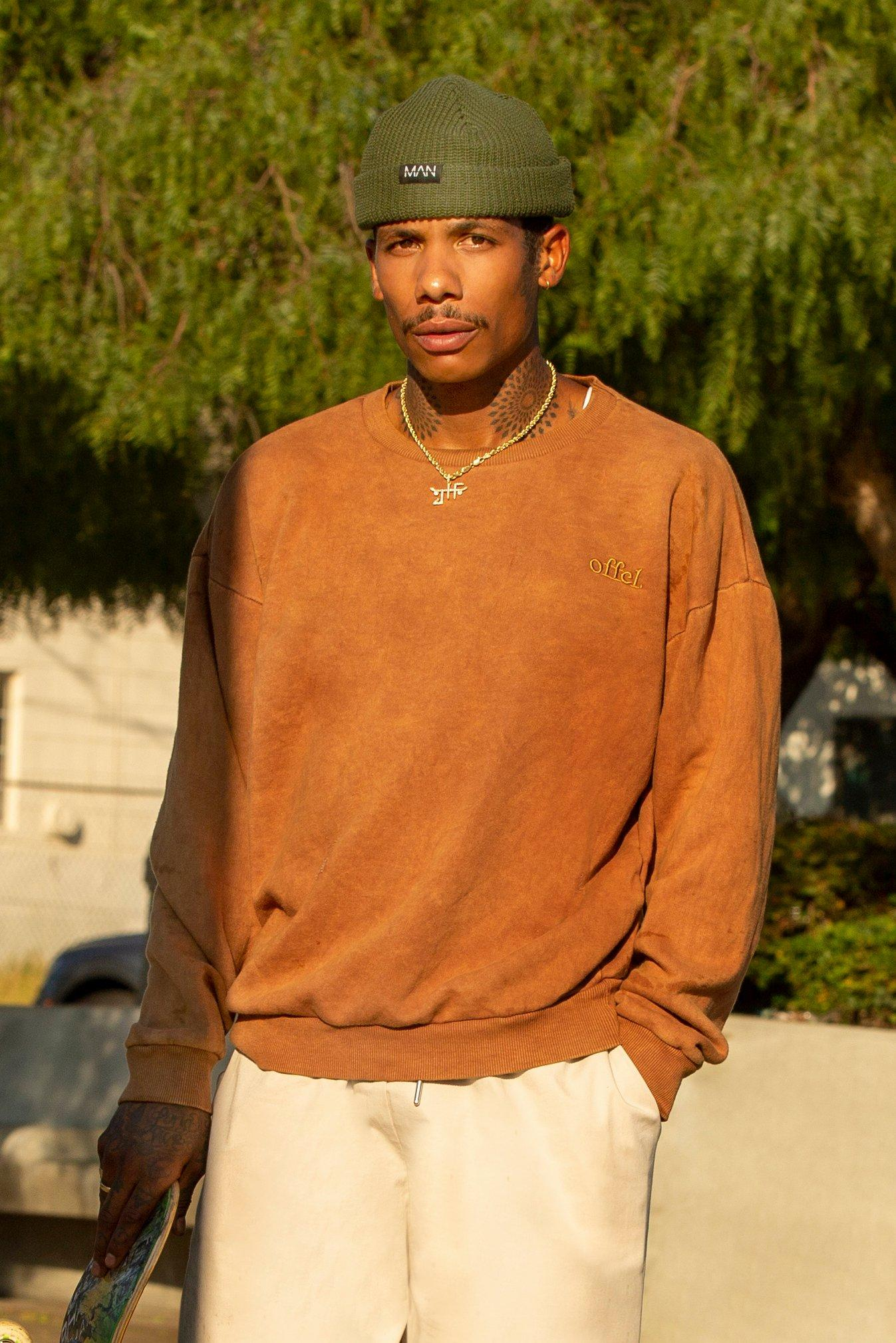 mens acid wash distressed oversized sweater - brown