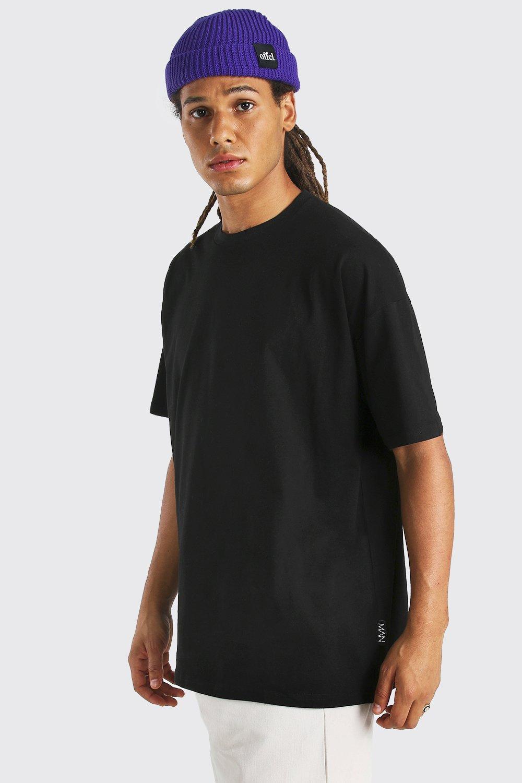 mens man tab longline basic t-shirt - black