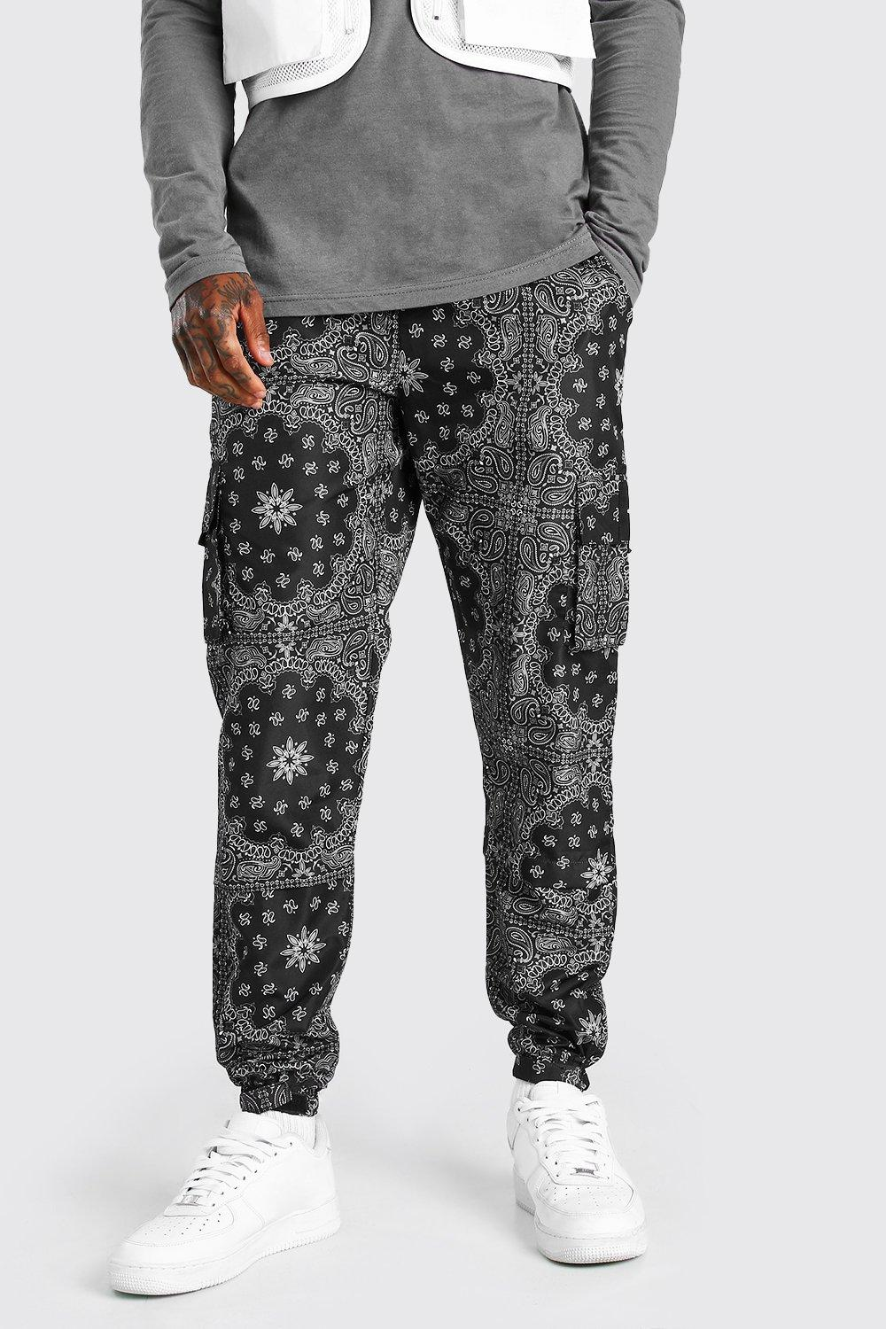 Hippie Pants, Jeans, Bell Bottoms, Palazzo, Yoga Mens Nylon Bandana Printed Cargo Pants - Black $31.50 AT vintagedancer.com