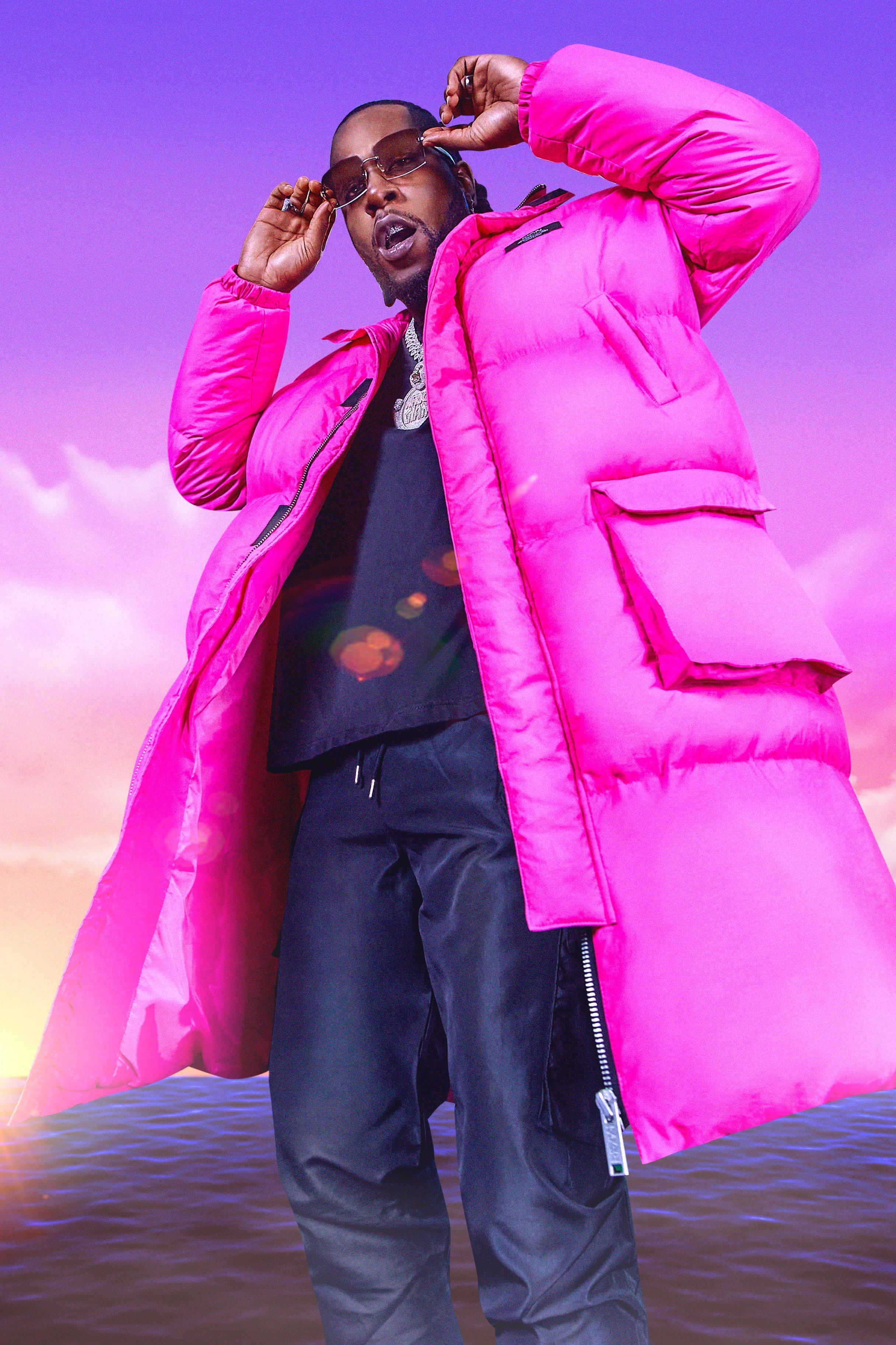 mens burna boy 4 pocket longline hooded puffer - pink