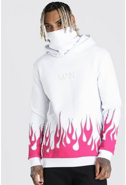 White MAN Official Hoodie med snood och eldsflammor