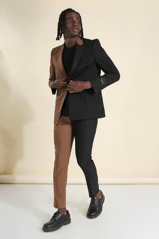60s – 70s Mens Bell Bottom Jeans, Flares, Disco Pants Mens MAN Skinny Plain Spliced Suit Pants - Brown $27.00 AT vintagedancer.com