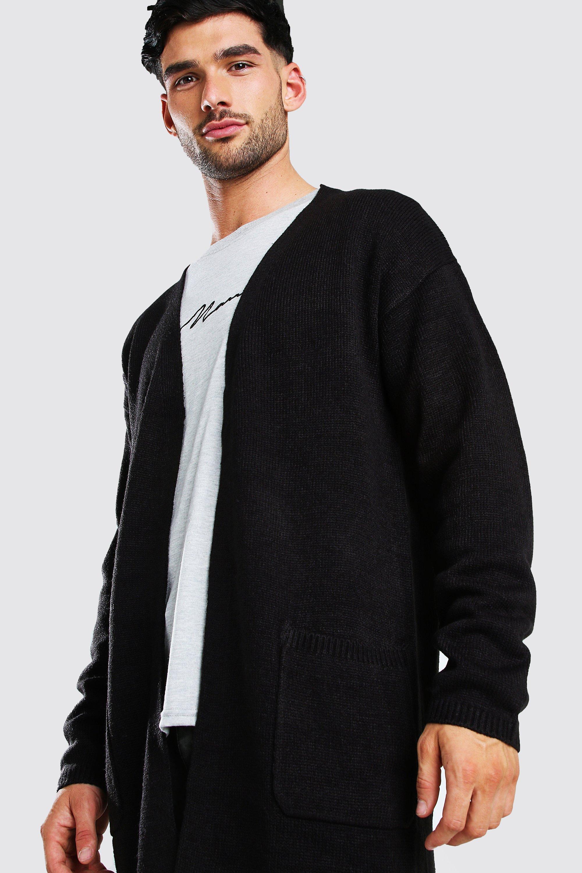 mens longline knitted cardigan - black