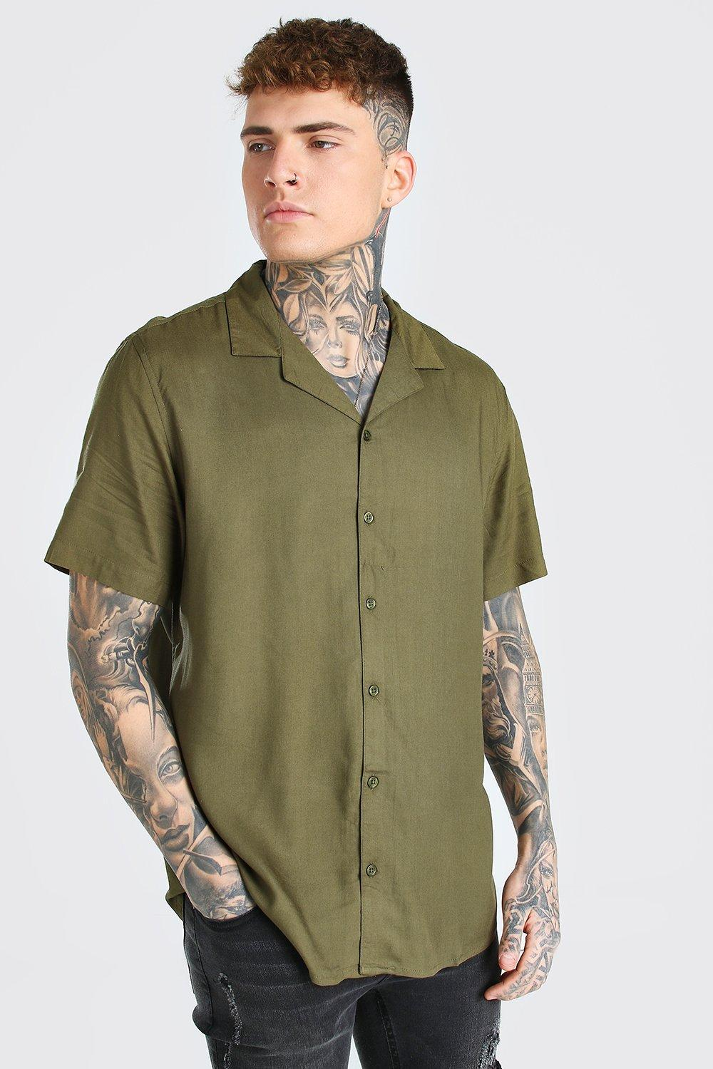 Mens Vintage Shirts – Casual, Dress, T-shirts, Polos Mens Short Sleeve Viscose Shirt With Revere Collar - Green $10.00 AT vintagedancer.com