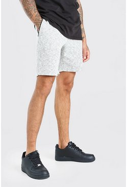 Short en jersey mi-long à fils teints, Light grey