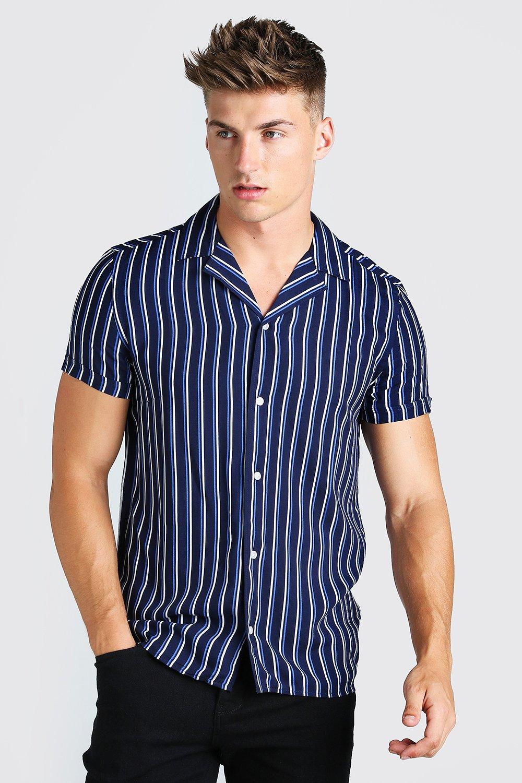 1980s Clothing, Fashion   80s Style Clothes Mens Short Sleeve Revere Collar Viscose Stripe Shirt - Navy $19.20 AT vintagedancer.com
