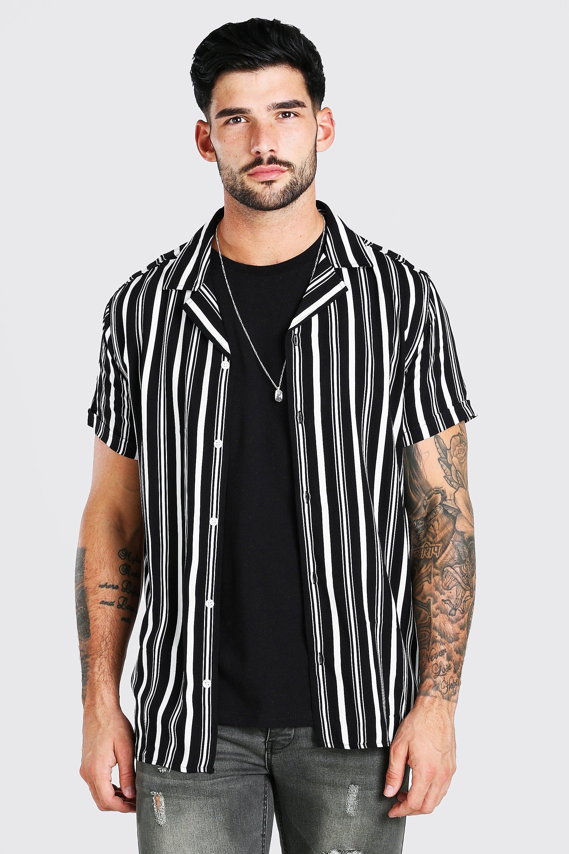 1980s Clothing, Fashion | 80s Style Clothes Mens Short Sleeve Revere Collar Viscose Stripe Shirt - Black $19.20 AT vintagedancer.com