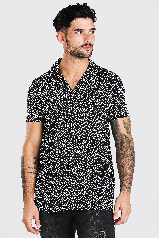 80s Men's Clothing | Shirts, Jeans, Jackets for Guys Mens Short Sleeve Revere Collar Viscose Print Shirt - Black $18.00 AT vintagedancer.com