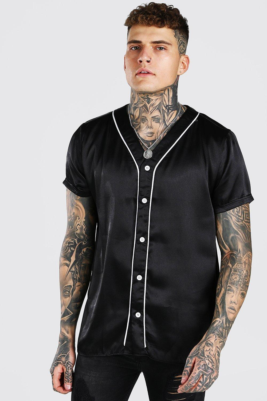 mens short sleeve baseball collar satin shirt - black