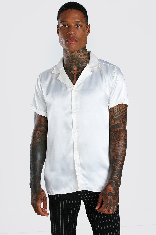 mens short sleeve revere collar satin shirt - cream