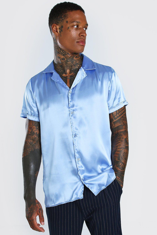 mens short sleeve revere collar satin shirt - blue