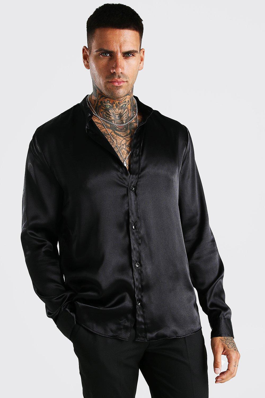 mens long sleeve grandad collar satin shirt - black