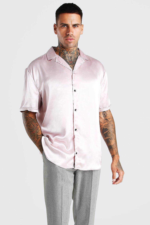 mens short sleeve oversized satin shirt - beige