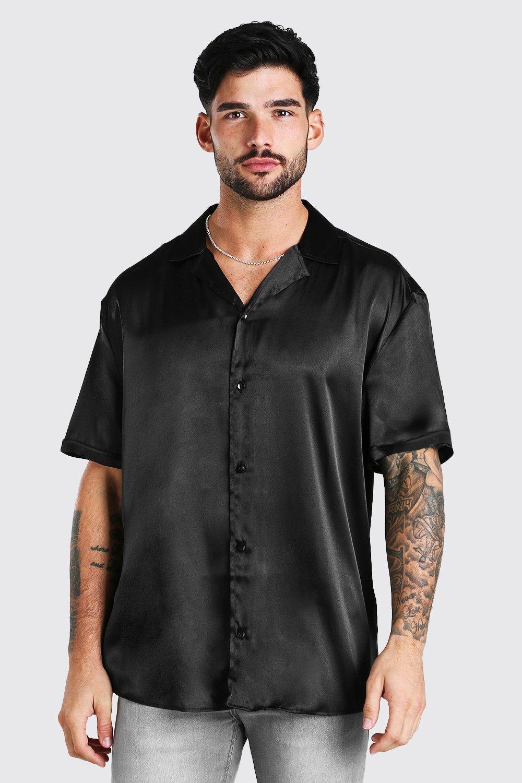 mens short sleeve oversized satin shirt - black