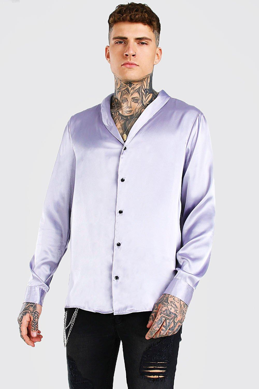 mens long sleeve shawl collar satin shirt - grey