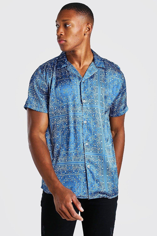 mens short sleeve bandana print satin shirt - navy