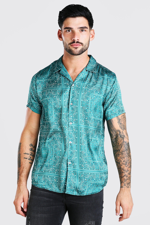 mens short sleeve bandana print satin shirt - green