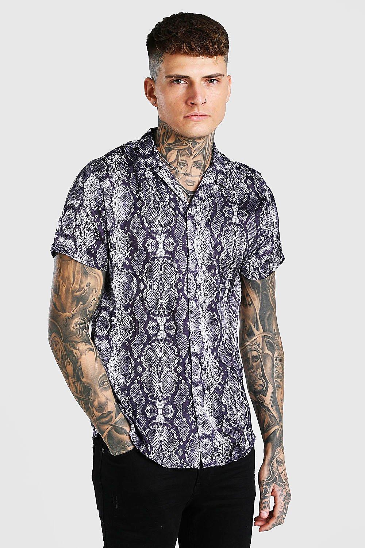 mens short sleeve snake print satin shirt - grey