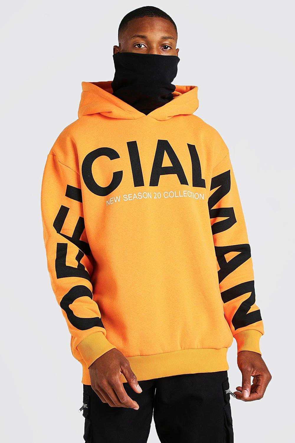 mens man official sleeve print contrast snood hoodie - orange