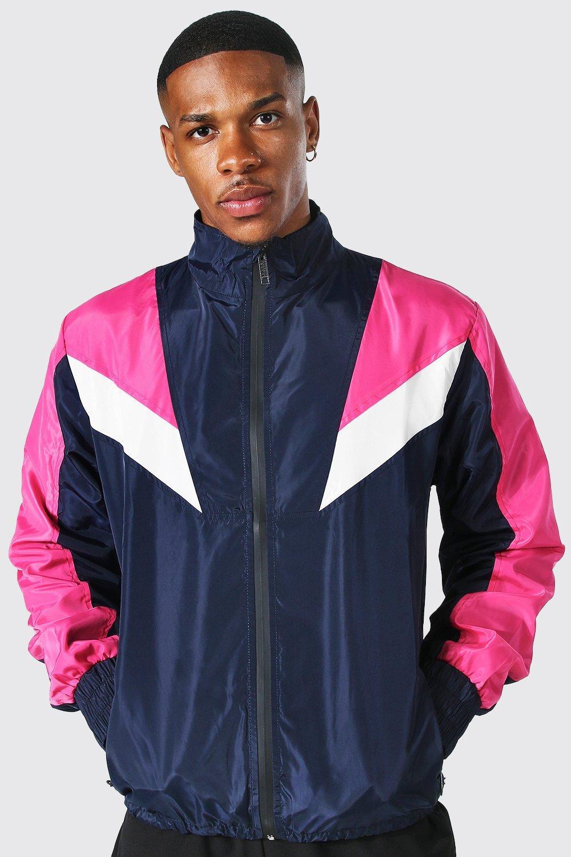 80s Windbreakers, Jackets, Coats | 90s Outerwear Mens Colour Block Arrow Funnel Neck Cagoule - Navy $18.00 AT vintagedancer.com