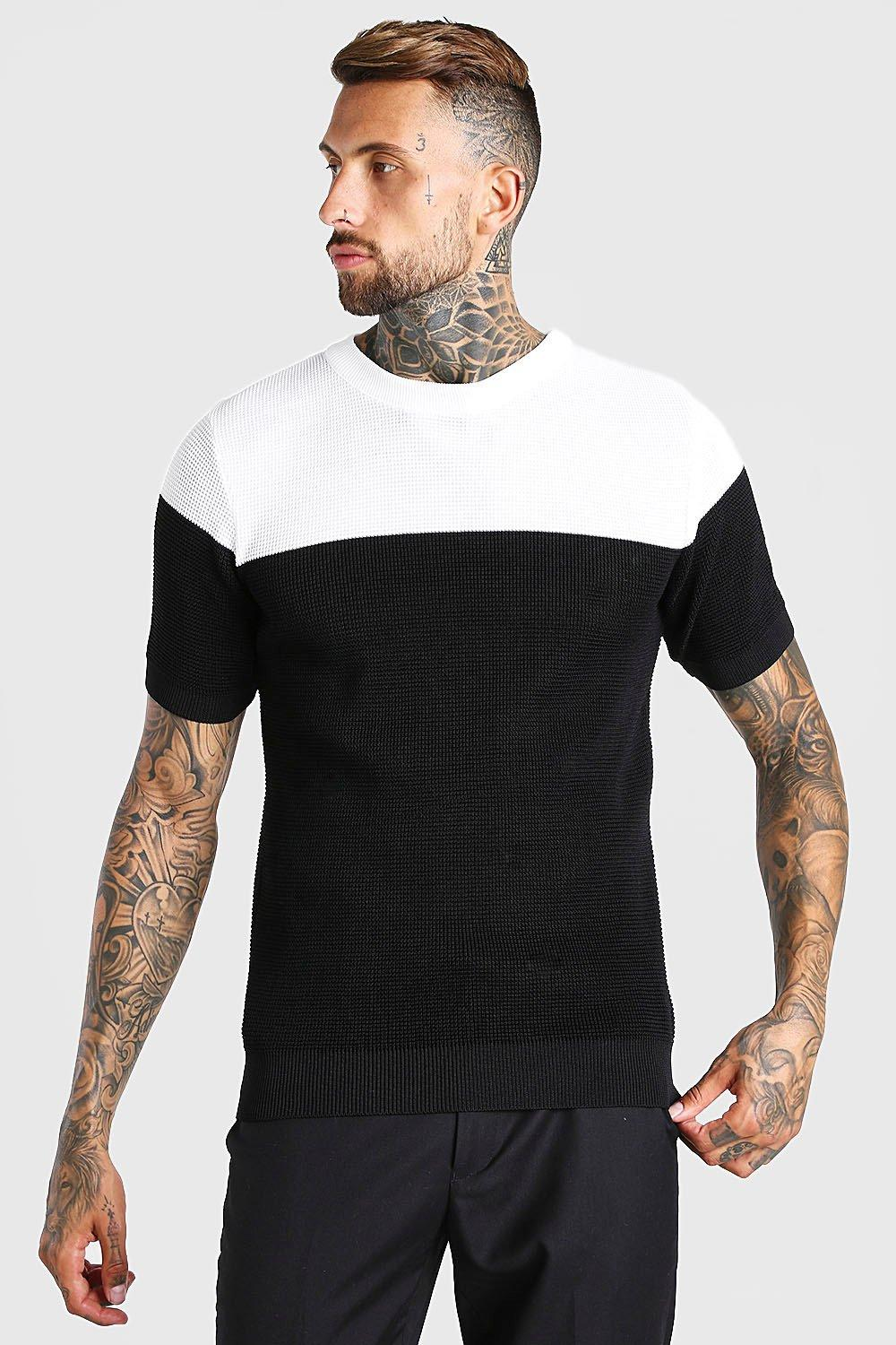 1960s Men's Clothing Mens Contrast Muscle Fit Knitted T-Shirt - Black $18.00 AT vintagedancer.com