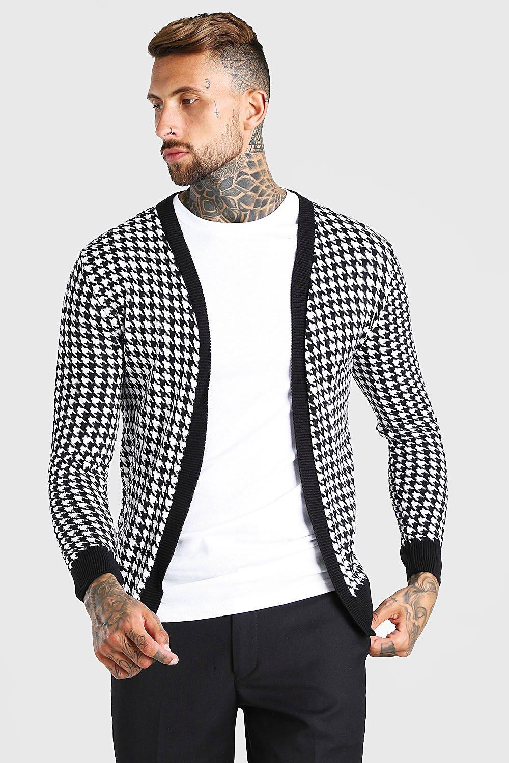 60s 70s Men's Jackets & Sweaters Mens Dogtooth Knitted Cardigan - Black $19.20 AT vintagedancer.com