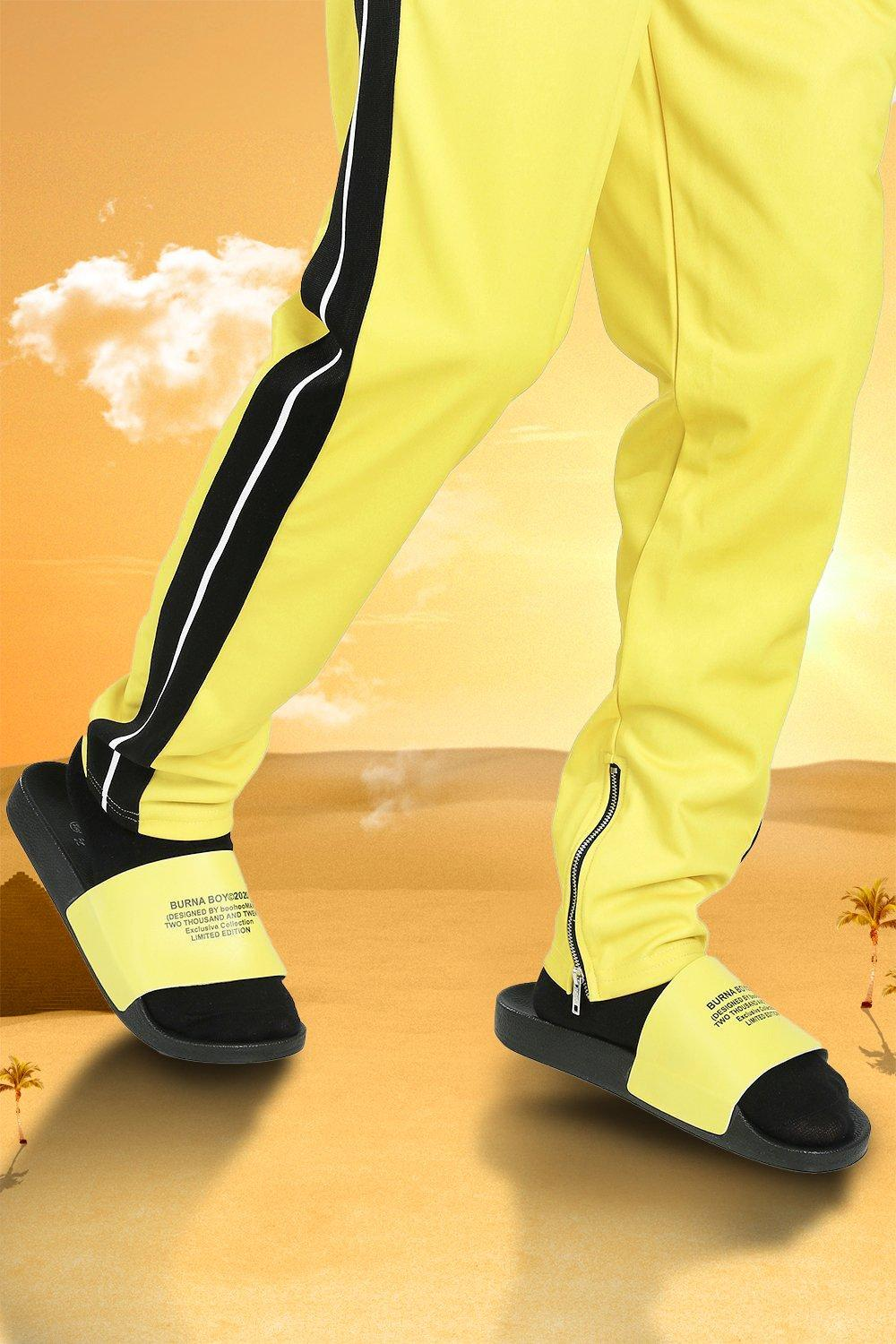 mens burna boy slider - yellow