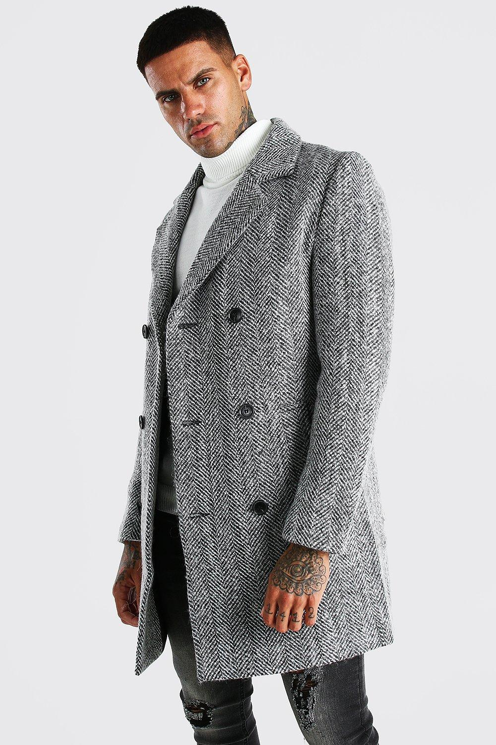 Men's Vintage Jackets & Coats Mens Wool Blend Harrington Double Breasted Overcoat - Grey $57.00 AT vintagedancer.com