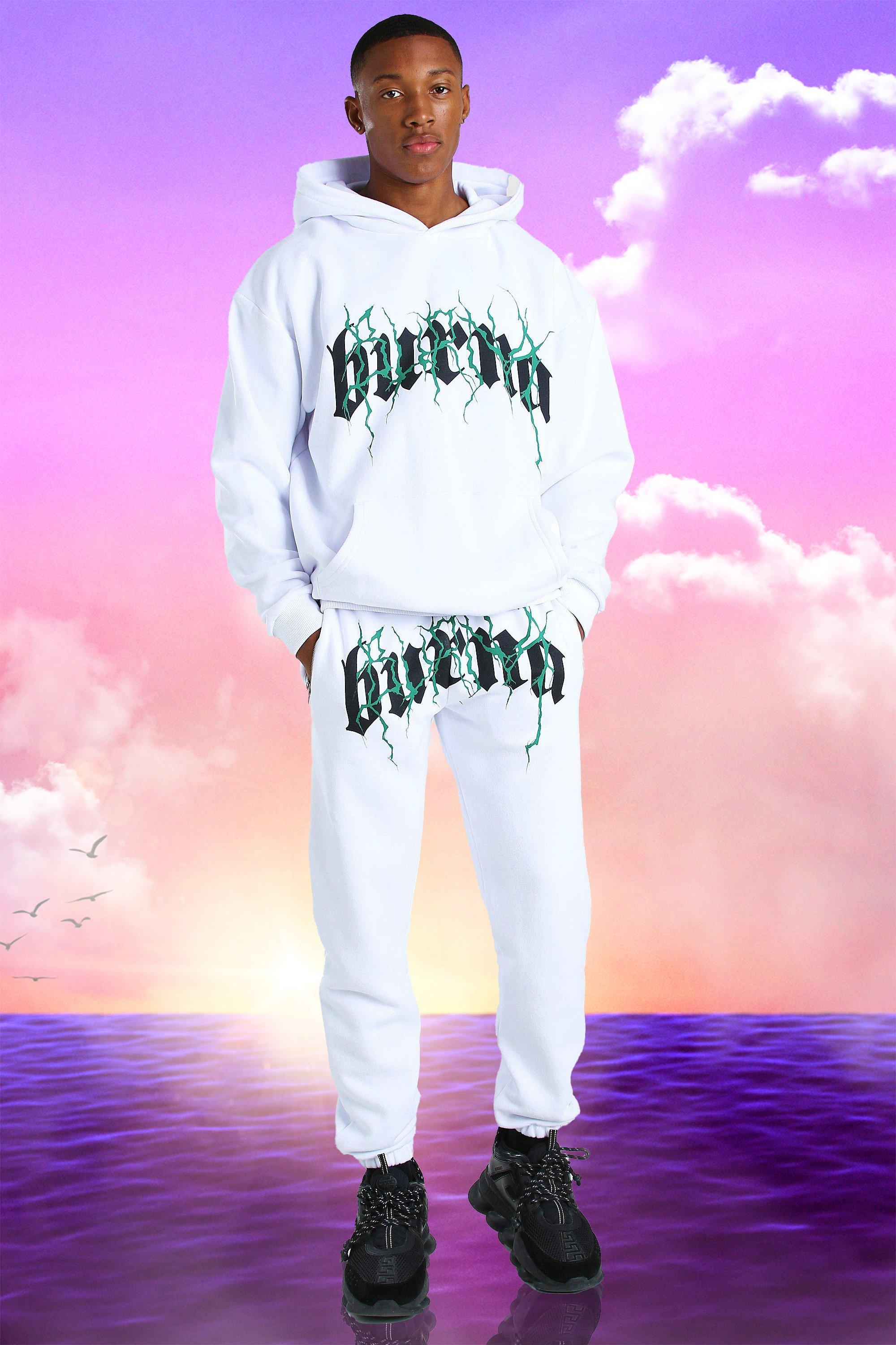 Burna Boy Oversized Tour Print Hooded Tracksuit