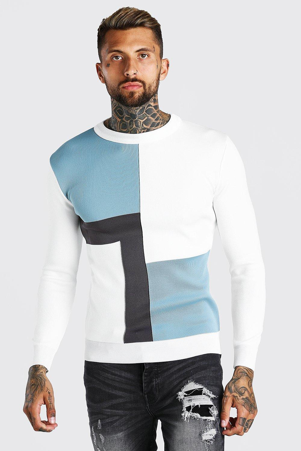 Men's Vintage Sweaters, Retro Jumpers 1920s to 1980s Mens Colour Block Muscle Fit Knitted Sweater - Blue $19.20 AT vintagedancer.com